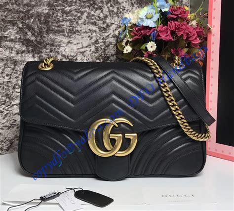 gucci medium gg marmont matelasse shoulder bag black