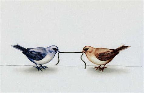 stock illustration birds pulling  ends  worm