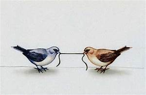 Stock Illustration - Birds pulling opposite ends of worm