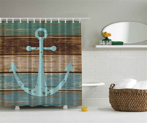 blue aqua beige nautical anchor beach fabric shower