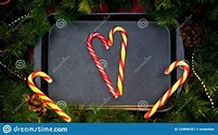 Striped Candy Canes Forming Heart On Baking Tray, Happy ...