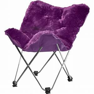 Your Zone Lux Shag Butterfly Chair Multiple Colors