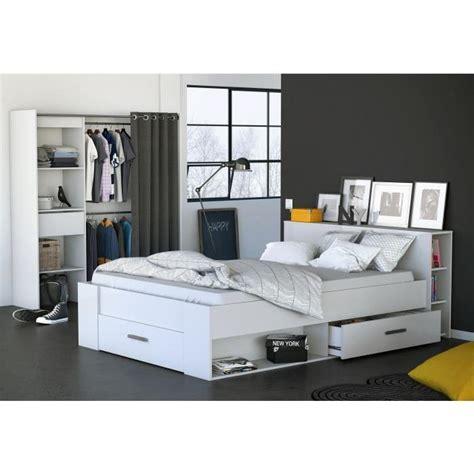 cdiscount chambre adulte oxygene lit adulte contemporain blanc l150 x l217 5 cm