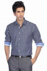 Louis Philippe Sports-Mens Full Sleeves Slim Fit Stripe ...