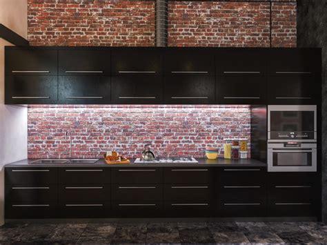 cuisine sur un pan de mur cuisine en brique ou blanche 36 idées ultra tendance