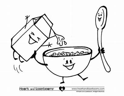 Cereal Coloring Breakfast Pages Box Clipart Milk