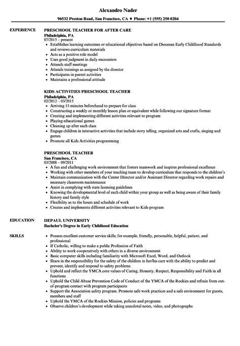 Preschool Teacher Resume | IPASPHOTO
