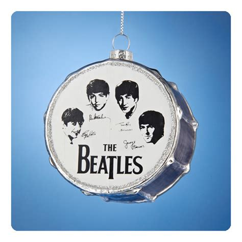the beatles beatles silver drum 3 inch glass ornament
