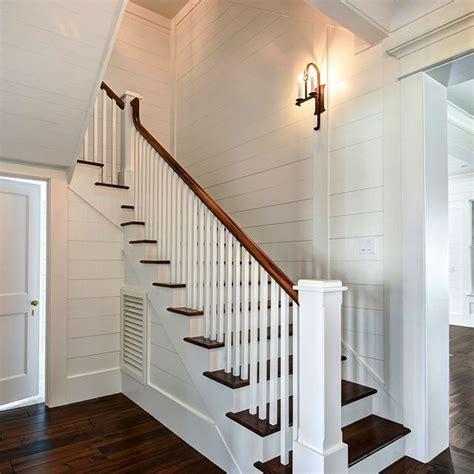 floor stair landing robyn hogan home design custom wall sconce walnut wide plank