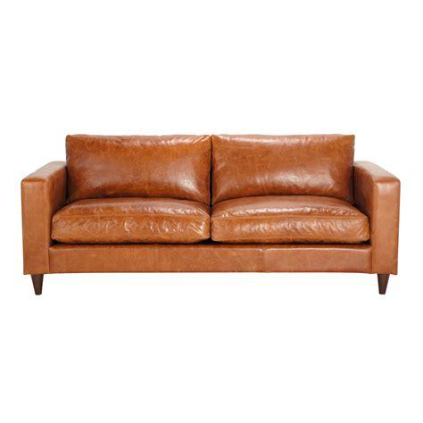 canap 233 vintage 3 places en cuir marron henry maisons du