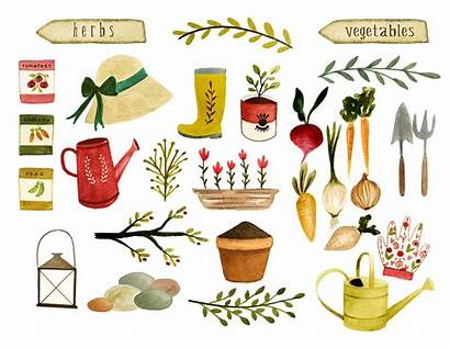 Gardening Clipart Watercolor Garden Tools Farm Vegetables