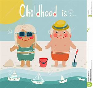 Summer Beach Children Friends Sunbathing Stock Images ...