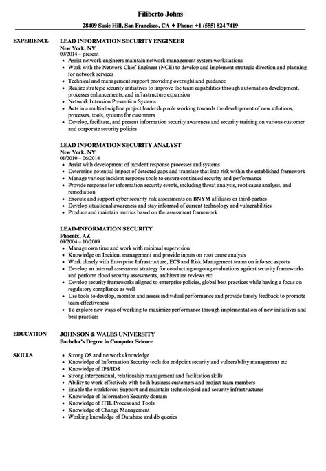 Information Security Resume by Lead Information Security Resume Sles Velvet