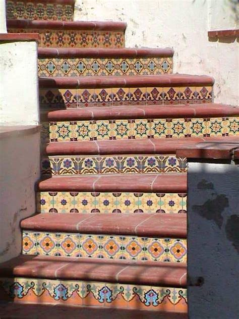painted decorative ceramic stair risers