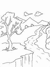 Coloring Pages River Mountain Mountains Landscape Nature Scenery Stream Printable Books Simple Drawing Adult Drawings Water Sheets Bestcoloringpagesforkids Forest Landscapes sketch template