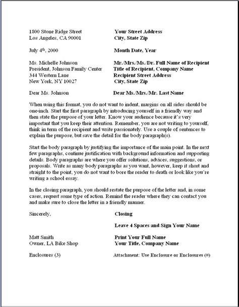 business letter format formal writing sample template