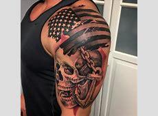 Trash Polka Style Flag Skull and Anchor Tattoo by David