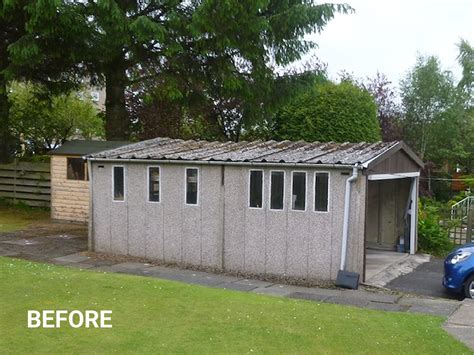 asbestos roof replacement welsh builds concrete garage