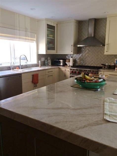 warm kitchen  perla venata quartzite countertops