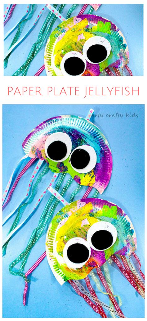paper plate jellyfish craft theme crafts for 395 | 295a649ff63074ece08d23c77e190c34