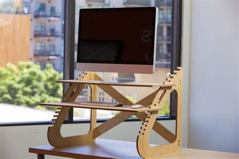 build a standing wooden diy standing desk for imac minimalist desk design