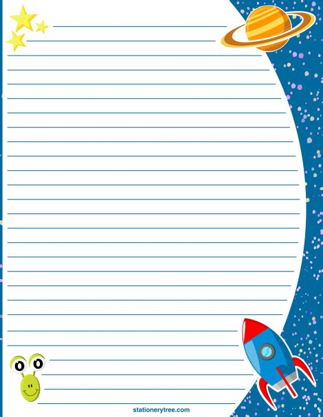 printable space stationery  writing paper   downloads  httpstationerytr