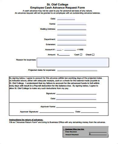 20026 employee advance form 8 sle employee advance forms sle templates