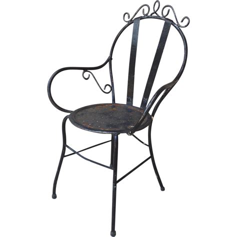 vintage wrought iron garden bistro arm chair from
