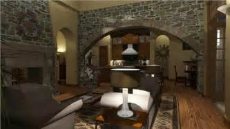 Tuscan Living Room by Old World House Plans Old World Style Homes