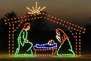 lighted outdoor decorations on