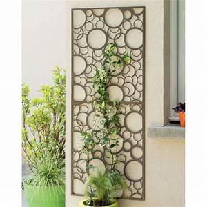Panneau Décoratif Extérieur : treillage d coratif m tal ronds gris marron 2012056 ~ Premium-room.com Idées de Décoration