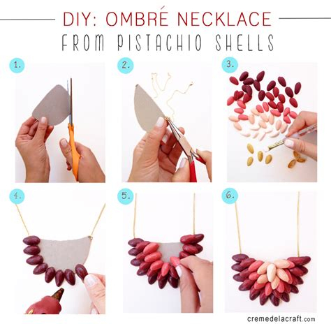 diy ombrè necklace from pistachio shells
