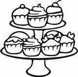 Cupcake Kleurplaat Cupcakes Etagere Coloring Kleurplaten Taart Colorir Kleuren Printable Bladzijden Boek Riscos Kerstmis Doces Kleurstof Schetsen Notitieboekjes Kind Stickerexpress sketch template