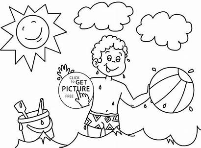 Coloring Summer Seasons Pages Four Drawing Printable
