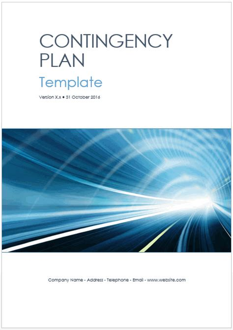contingency plan templates ms word   excels