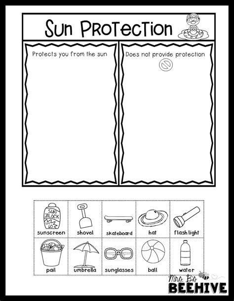 Sun protection sort for primary grades. - FREEBIE | Next ...