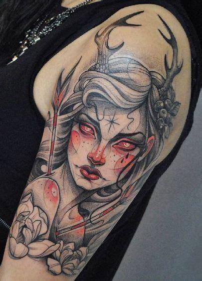 neo traditional female  sleeve tattoo entertainmentmesh