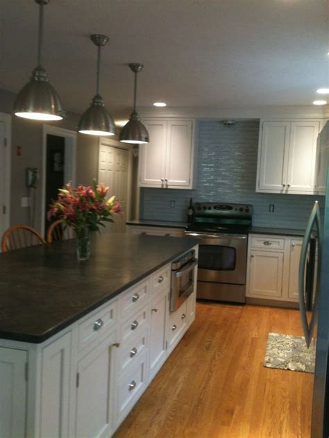 jet mist honed granite countertop   kitchen wall