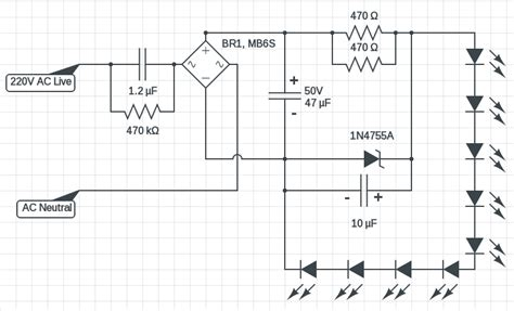 220v Schematic Wiring Diagram by 220v Led Circuit Ac Mains Powered Led Driver Circuits Diy