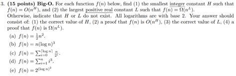 solved 3 15 points big o for each function f n belo chegg
