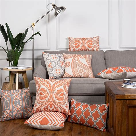 Room Decor Pillows by Orange Cushion Cover Home Decor Geometric Linen Decorative