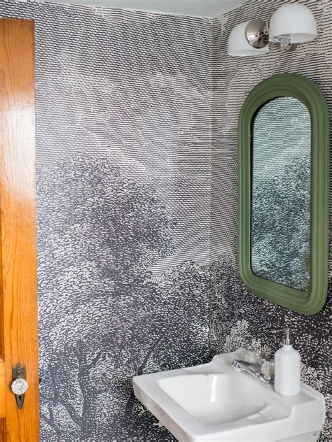 decorating ideas for bathrooms on a budget how to install wallpaper in a bathroom hgtv