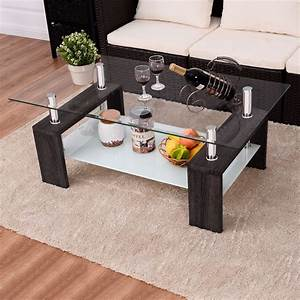Wood, Tempered, Glass, Top, Coffee, Table, Rectangular, W, Shelf, Home, Furniture