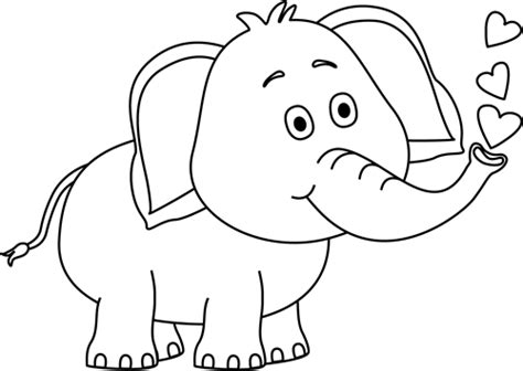 elephant clipart black and white black and white elephant blowing hearts clip black