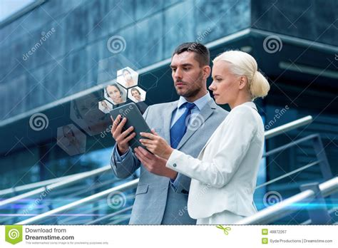 businesspeople with tablet pc outdoors stock image image of corporate coworkers 48872267