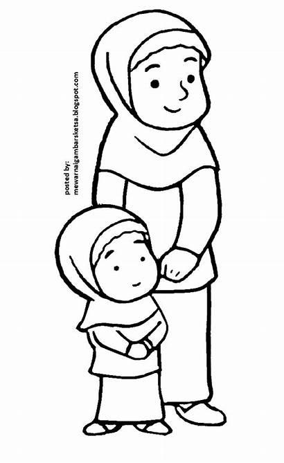 Mewarnai Anak Gambar Sketsa Muslim Muslimah Kartun