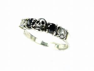 skull wedding ring black diamond sterling engagement ring goth With diamond skull wedding rings