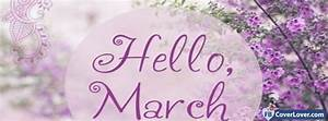 Hello March Purple Flowers seasonal Facebook Cover