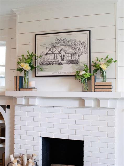 Shiplap Painted White by Shiplap And Painted Brick Fireplace Country White
