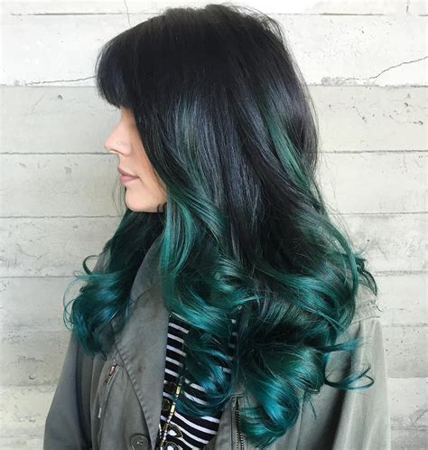 Long Curly Black Hair With Teal Green Balayage Green